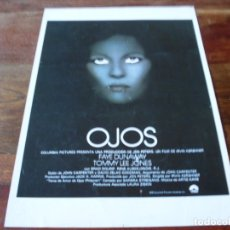 Cine: OJOS - FAYE DUNAWAY, TOMMY LEE JONES, BRAD DOURIF - GUIA ORIGINAL COLUMBIA AÑO 1978. Lote 179333016