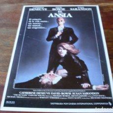 Cine: EL ANSIA - CATHERINE DENUEVE, DAVID BOWIE, SUSAN SARANDON, TONY SCOTT - GUIA ORIGINAL C.I.C AÑO 1983. Lote 179547811