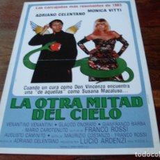 Cine: LA OTRA MITAD DEL CIELO - ADRIANO CELENTANO, MONICA VITTI - GUIA ORIGINAL WARNER AÑO 1983. Lote 179548411