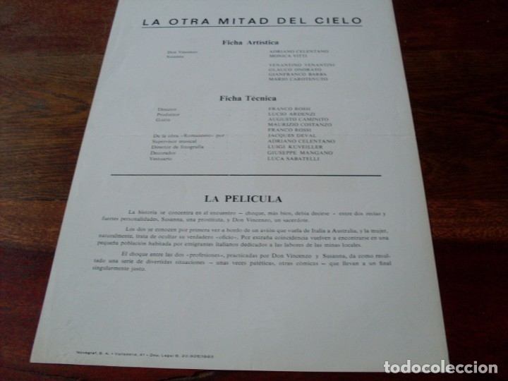 Cine: la otra mitad del cielo - adriano celentano, monica vitti - guia original warner año 1983 - Foto 2 - 179548411