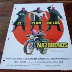 Cine: EL CLAN DE LOS NAZARENOS - JAVIER ESCRIBA, ANTONIO SABATO, TONY ISBERT - GUIA ORIGINAL AÑO 1975 JANO. Lote 179548572