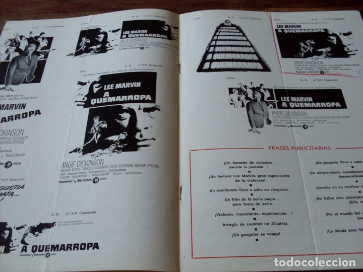 Cine: a quemarropa - lee marvin, angie dickinson - dir. john boorman - guia original mgm año 1968 - Foto 3 - 180035138