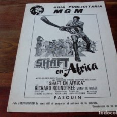 Cine: SHAFT EN AFRICA - RICHARD ROUNDTREE, VONETA MCGEE, FRANK FINLAY - GUIA ORIGINAL MGM AÑO 1974. Lote 180192633