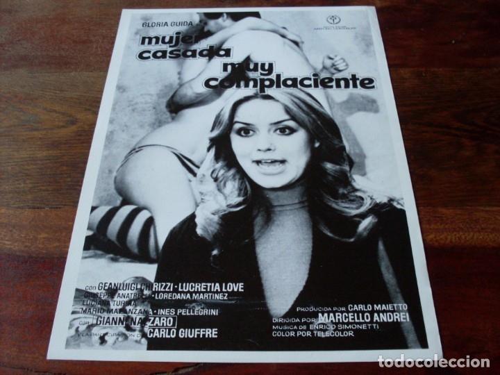 MUJER CASADA MUY COMPLACIENTE - GLORIA GUIDA, CARLO GIUFFRE - GUIA ORIGINAL REGIA FILMS AÑO 1976 (Cine - Guías Publicitarias de Películas )