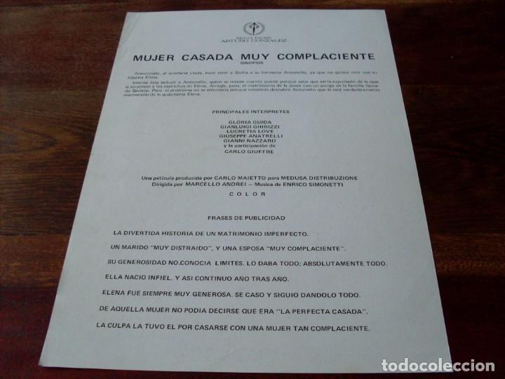 Cine: mujer casada muy complaciente - gloria guida, carlo giuffre - guia original regia films año 1976 - Foto 2 - 180193745