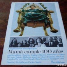 Cine: MAMA CUMPLE 100 AÑOS - RAFAELA APARICIO, AMPARO MUÑOZ, CARLOS SAURA - GUIA ORIGINAL C.I.C AÑO 1979. Lote 180274578