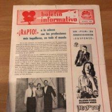 Cine: BOLETÍN INFORMATIVO IRIS FILMS ENERO 1961.RAPTO GLENN FORD.ESPIONAJE CONTRA...JULIETTE MAYNIEL. Lote 182081773