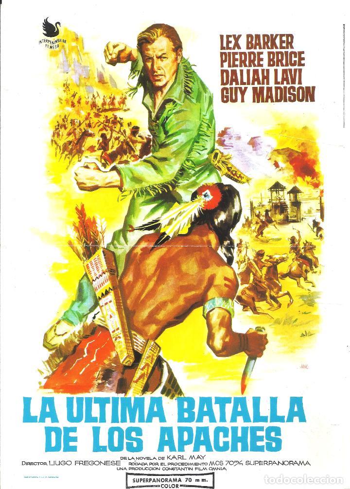 G8969 ULTIMA BATALLA DE LOS APACHES GUIA DOBLE ORIGINAL INTERPENINSULAR LEX BARKER KARL MAY (Cine - Guías Publicitarias de Películas )