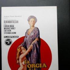 Cinéma: LA ORGIA DELSEXO, LUCIA BOSÉ, DISEÑO DE JANO,, CLASIFICADA S. Lote 186271311