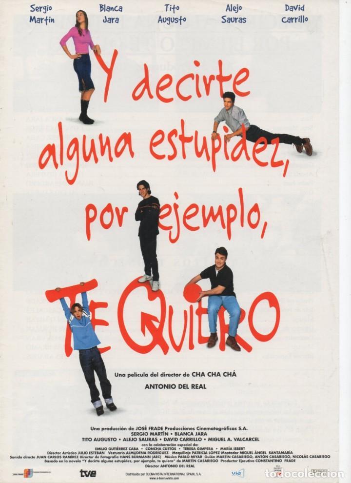 Y DECIRTE ALGUNA ESTUPIDEZ, POR EJEMPLO, TE QUIERO (Cine - Guías Publicitarias de Películas )