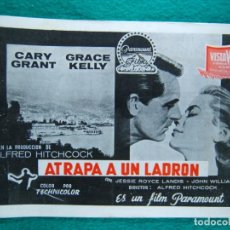 Cine: ATRAPA A UN LADRON-TO CATCH A THIEF-ALFRED HITCHCOCK-CARY GRANT-GRACE KELLY-FORTUNY-8 HOJAS-1955.. Lote 190624561