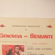 Cine: GENOVEVA DE BRABANTE,GUIA PUBLICITARIA DOBLE CON PROGRAMA DE CINE(ROSA FILMS). Lote 191684343