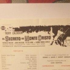 Cine: EL SECRETO DE MONTECRISTO,GUIA PUBLICITARIA(TRIPTICO-MGM),RORY CALHOUN. Lote 191817136