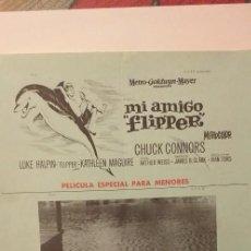 Cine: MI AMIGO FLIPPER,GUIA PUBLICITARIA(TRIPTICO-MGM).CHUCK CONNORS. Lote 191818418