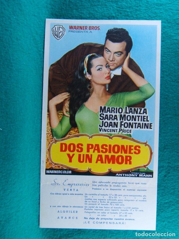 DOS PASIONES Y UN AMOR-SERENADE-ANTHONY MANN-MARIO LANZA-JOAN FONTAINE-SARA MONTIEL-2 PAGINAS-1959. (Cine - Guías Publicitarias de Películas )