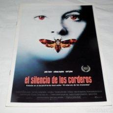 Cine: GUIA PUBLICITARIA PELICULA EL SILENCIO DE LOS CORDEROS. Lote 193013092
