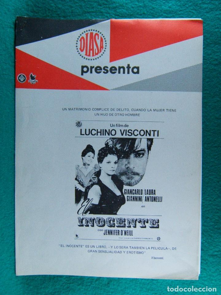 EL INOCENTE-L'INNOCENTE-LUCHINO VISCONTI-GIANCARLO GIANNINI-LAURA ANTONELLI-¡¡¡28 PAGINAS!!!-1976. (Cine - Guías Publicitarias de Películas )