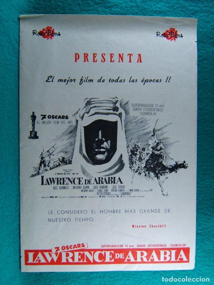LAWRENCE DE ARABIA-DAVID LEAN-ALEC GUINNES-ANTOHONY QUINN-PETER O'TOOLE-7 OSCARS-4 PAGINAS-1962. (Cine - Guías Publicitarias de Películas )
