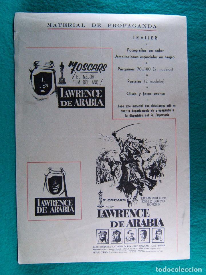 Cine: LAWRENCE DE ARABIA-DAVID LEAN-ALEC GUINNES-ANTOHONY QUINN-PETER OTOOLE-7 OSCARS-4 PAGINAS-1962. - Foto 3 - 193568940