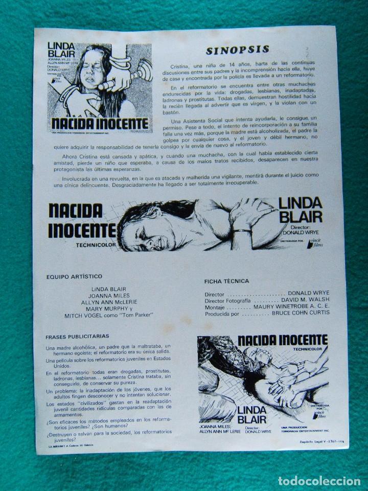 Cine: NACIDA INOCENTE-BORN INNOCENT-DONALD WRYE-LINDA BLAIR-JOANNA MILES-ALLYN ANN McLERIE-2 PAGINAS-1976. - Foto 2 - 194221158