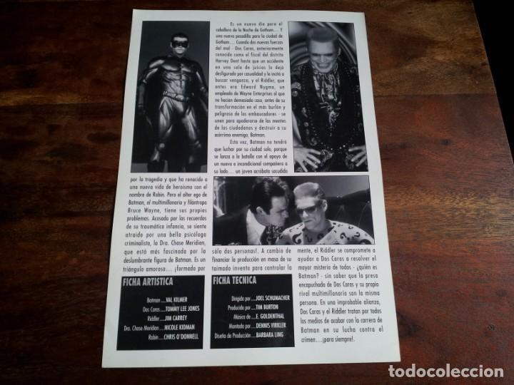 Cine: batman forever - Val Kilmer, Nicole Kidman, Chris ODonnell - guia original warner año 1995 - Foto 2 - 194338472
