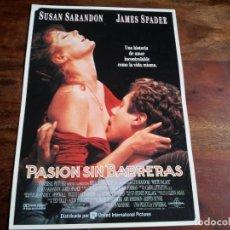 Cine: PASION SIN BARRERAS - SUSAN SARANDON, JAMES SPADER, KATHY BATES - GUIA ORIGINAL U,I,P AÑO 1990. Lote 194627771