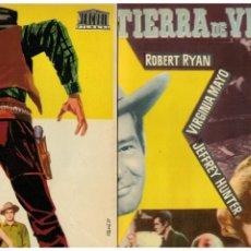 Cine: TIERRA DE VIOLENCIA. ROBERT RYAN-VIRGINIA MAYO. TRÍPTICO GRAN FORMATO. ORIGINAL AÑOS 50.. Lote 195126215