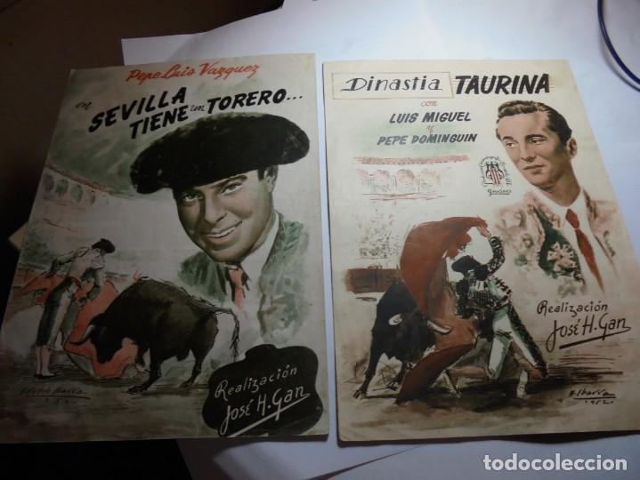 MAGNIFICAS DOS GUIAS DE CINE DE PELICULAS SEVILLA TIENE UN TORERO Y DINASTIA TAURINA DEL 1952 (Cine - Guías Publicitarias de Películas )