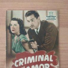 Cinema: N--GUIA DE LA PELICULA -- CRIMINAL POR AMOR . Lote 195304702