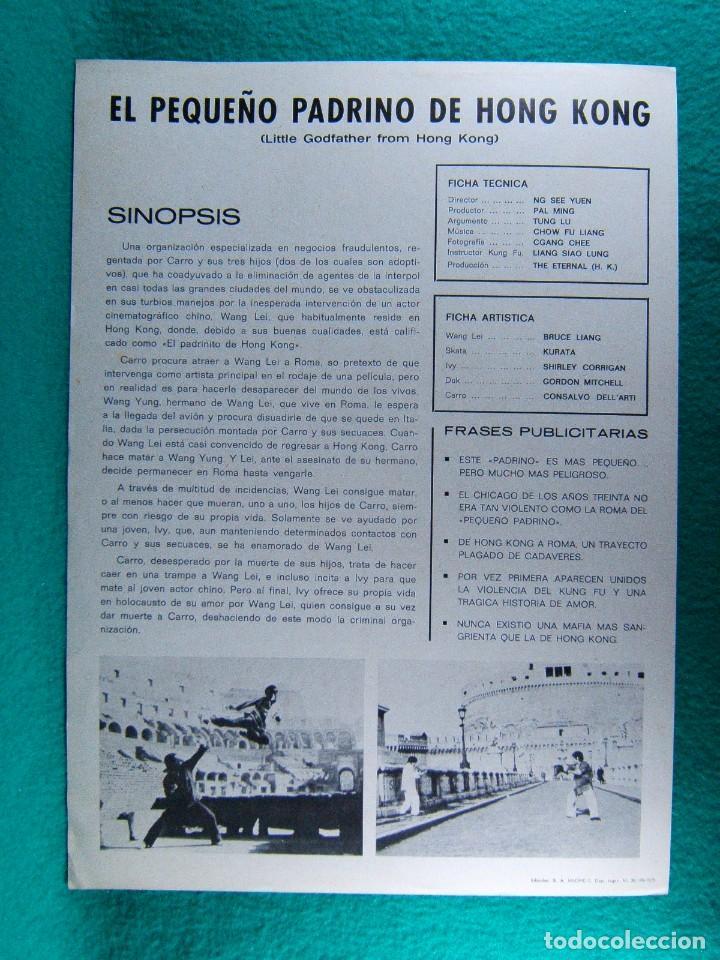 Cine: EL PEQUEÑO PADRINO DE HONG KONG-LITTLE GODFATHER FROM...-NG SEE YUEN-BRUCE LIANG-JANO-2 PAGINAS-1975 - Foto 2 - 195328010