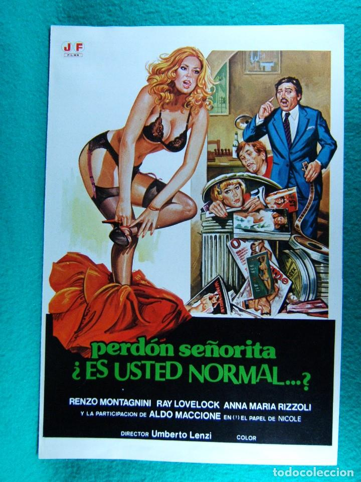 PERDON SEÑORITA ¿ ES USTED NORMAL...?-UMBERTO LENZI-RENZO MONTAGNINI-RAY LOVELOCK-4 PAGINAS-1980. (Cine - Guías Publicitarias de Películas )
