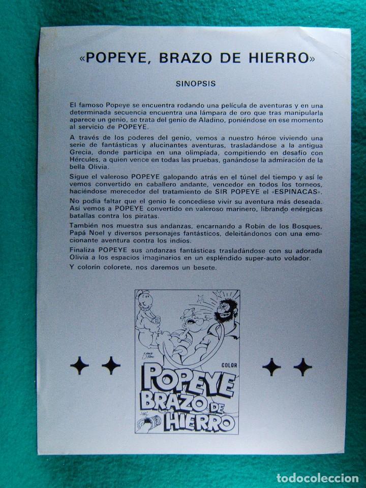 Cine: POPEYE BRAZO DE HIERRO-MAX FLESCHER-WALT DISNEY-ANIMACION DIBUJOS-2 PAGINAS-AÑOS 70. - Foto 2 - 195388782