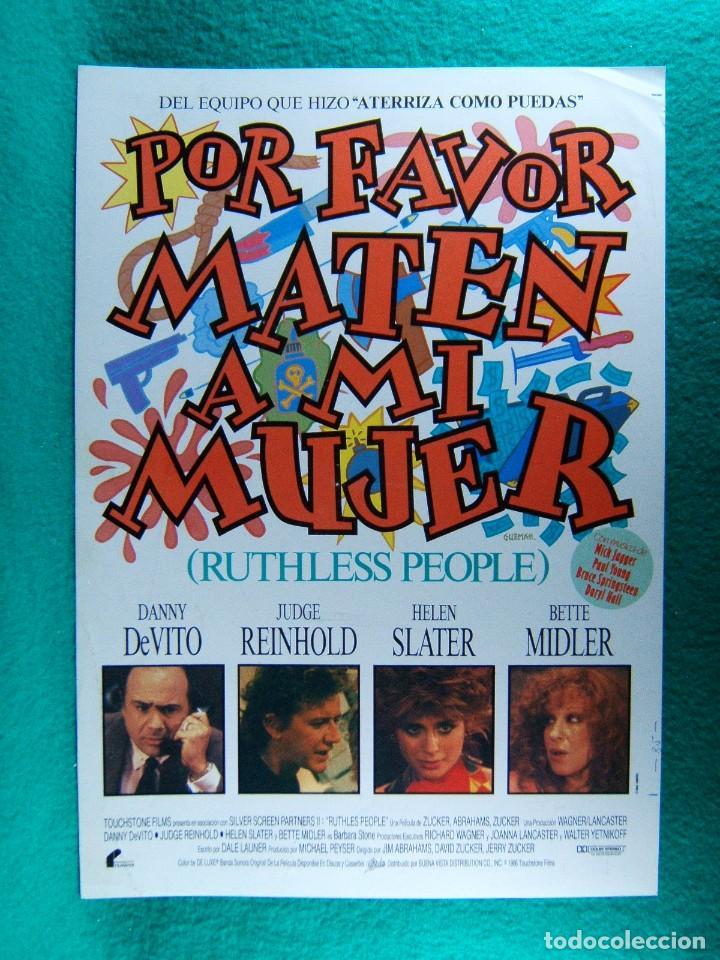 POR FAVOR MATEN A MI MUJER-RUTHLESS PEOPLE-JIM ABRAHAMS-DANNY DEVITO-ILUSTRA GUZMAN-2 PAGINAS-1986. (Cine - Guías Publicitarias de Películas )