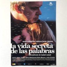Cine: CINE ESPAÑOL - LA VIDA SECRETA DE LAS PALABRAS - ISABEL COIXET - GUÍA PUBLICITARIA FICHA TÉCNICA. Lote 195438962