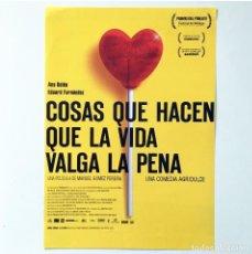Cine: CINE ESPAÑOL - COSAS QUE HACEN QUE LA VIDA VALGA LA PENA - GUÍA PUBLICITARIA FICHA TÉCNICA. Lote 195439050