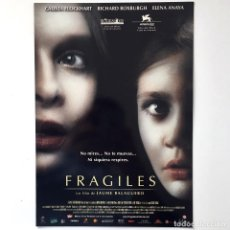 Cine: CINE ESPAÑOL - FRAGILES - JAUME BALAGUERO - GUÍA PUBLICITARIA FICHA TÉCNICA. Lote 195439085