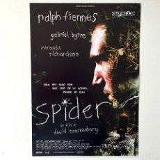 Cine: CINE PELÍCULA - SPIDER DAVID CRONENBERG - GUÍA PUBLICITARIA FICHA TÉCNICA. Lote 195440325