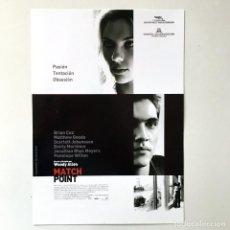 Cine: MATCH POINT WOODY ALLEN - CINE PELÍCULA - GUÍA PUBLICITARIA FICHA TÉCNICA. Lote 195522928