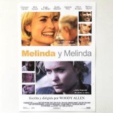Cine: MELINDA Y MELINDA - WOODY ALLEN - CINE PELÍCULA - GUÍA PUBLICITARIA FICHA TÉCNICA. Lote 195522952