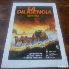Cine: LA DILIGENCIA - JOHN WAYNE, CLAIRE TREVOR - DIR. JOHN FORD - GUIA-LAMINA ORIGINAL DE LA REPOSICION. Lote 195528850