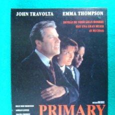 Cine: PRIMARY COLORS-MIKE NICHOLS-JOHN TRAVOLTA-EMMA THOMPSON-KATY BATES-BILLY BOB THORNTON-2 PAGINAS-1997. Lote 195537981