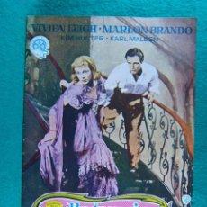 Cine: UN TRANVIA LLAMADO DESEO-A STREETCAR NAMEI DESIRE-ELIZ KAZAN-VIVIEN LEIGH-MARLON BRANDO-26 PAG-1951.. Lote 197814571