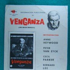 Cine: VENGANZA-VENGEANCE-THE BRAIN-EL CEREBRO VIVIENTE-FREDDIE FRANCIS-ANNE HEYWOOD-4 PAGINAS-1962. . Lote 197937353