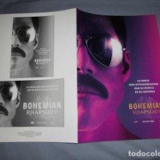 Cinema: BOHEMIAN RHAPSODY. GUIA PUBLICITARIA DOBLE. ORIGINAL. MAGNIFICO ESTADO. NUEVO.. Lote 199172802