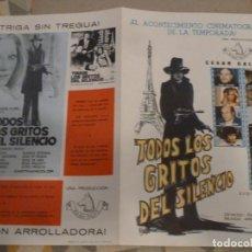 Cinéma: TODOS LOS GRITOS DEL SILENCIO PAUL NASCHY GUIA PUBLICITARIA ANTIGUA ORIGINAL ESTRENO PERFECTO ESTADO. Lote 201924857