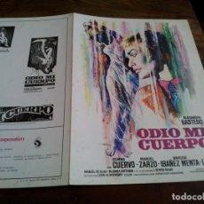 Cinéma: ODIO MI CUERPO - GEMMA CUERVO, MANOLO ZARCO, BLANCA ESTRADA - GUIA ORIGINAL C.I.C.1974 MAC. Lote 202991543
