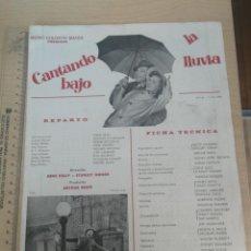 Cine: GUIA, FICHA PUBLICITARIA Y TECNICA, CANTANDO BAJO LA LLUVIA METRO GOLDWYN MAYER 26-11-1964. Lote 204009331