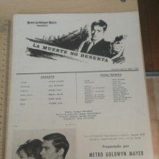 Cine: GUIA, FICHA PUBLICITARIA Y TECNICA, LA MUERTE NO DESERTA METRO GOLDWYN MAYER 1965. Lote 204010873
