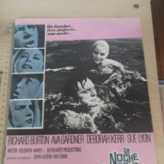 Cine: GUIA, FICHA PUBLICITARIA Y TECNICA, LA NOCHE DE LA IGUANA METRO GOLDWYN MAYER 22-09-1964. Lote 204012225