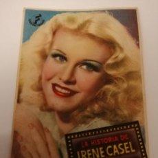 Cinema: LIRIA. VALENCIA. TEATRO CINE BANDA PRIMITIVA. LA HISTORIA DE IRENE CASEL. 1944. Lote 204764610
